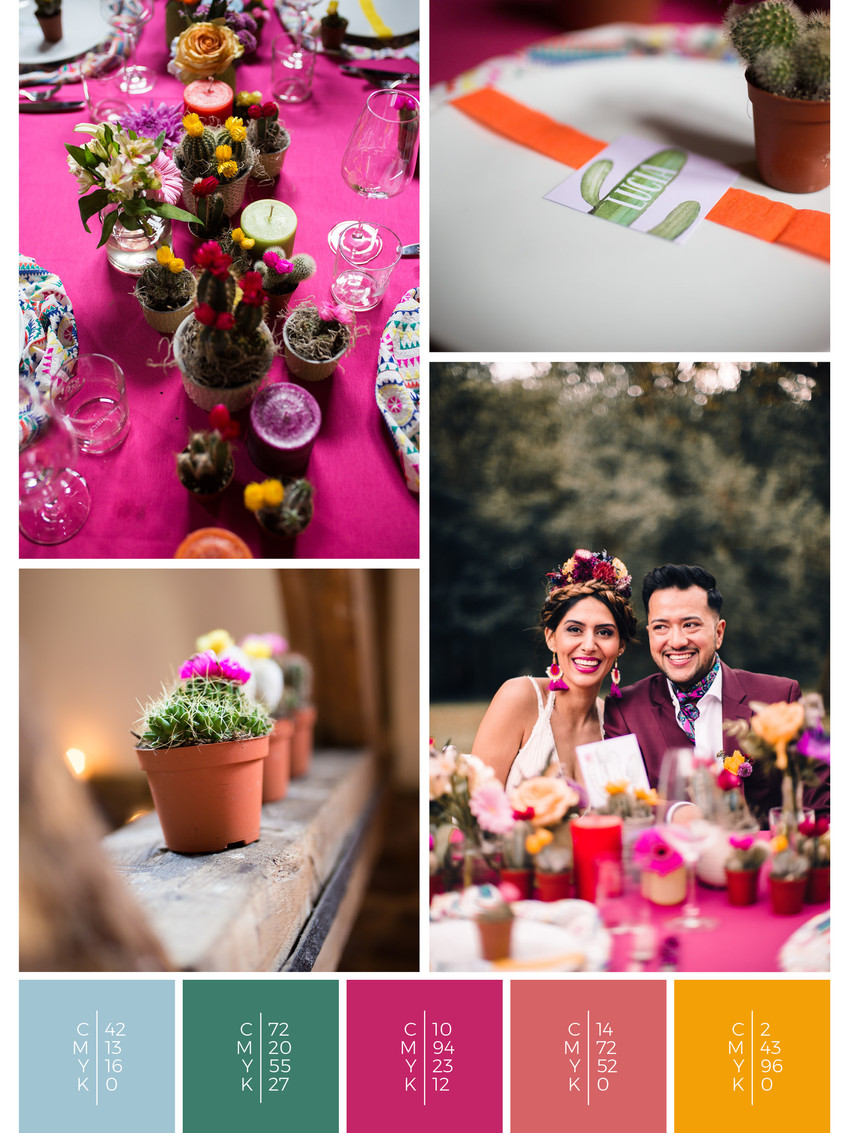 "This wedding table decoration of the wedding mood board ""Mexican Magic"" has a color scheme palette in shades of pink and orange."