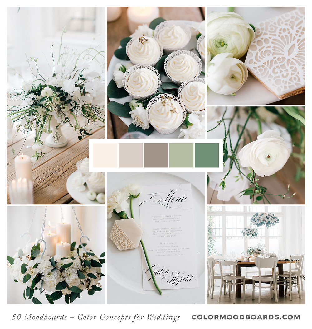 A mood board as wedding inspiration for flowers, decoration & invitation which uses a color palette of white.