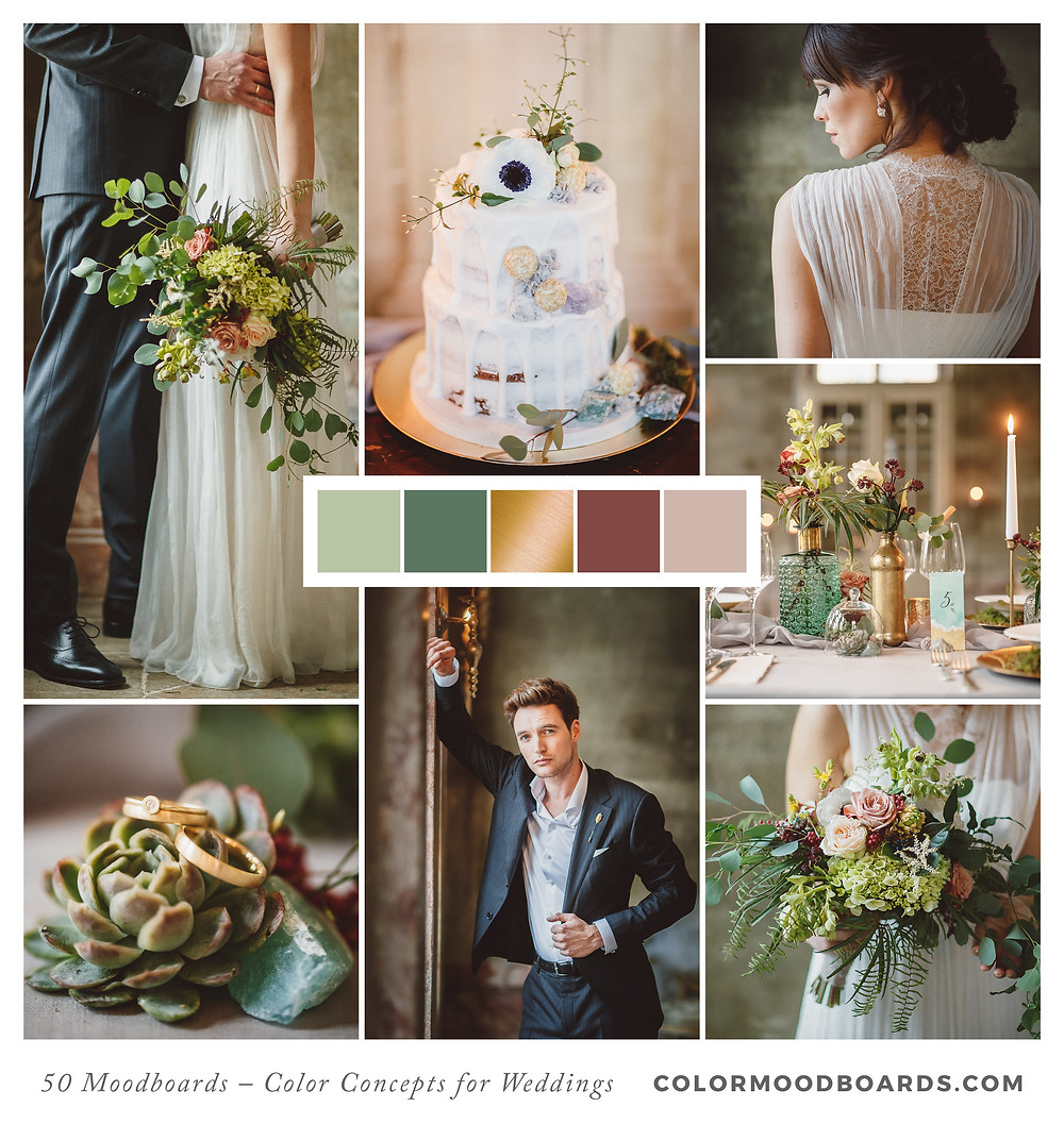 A mood board as wedding inspiration for flowers, decoration & invitation which uses a color palette of green.