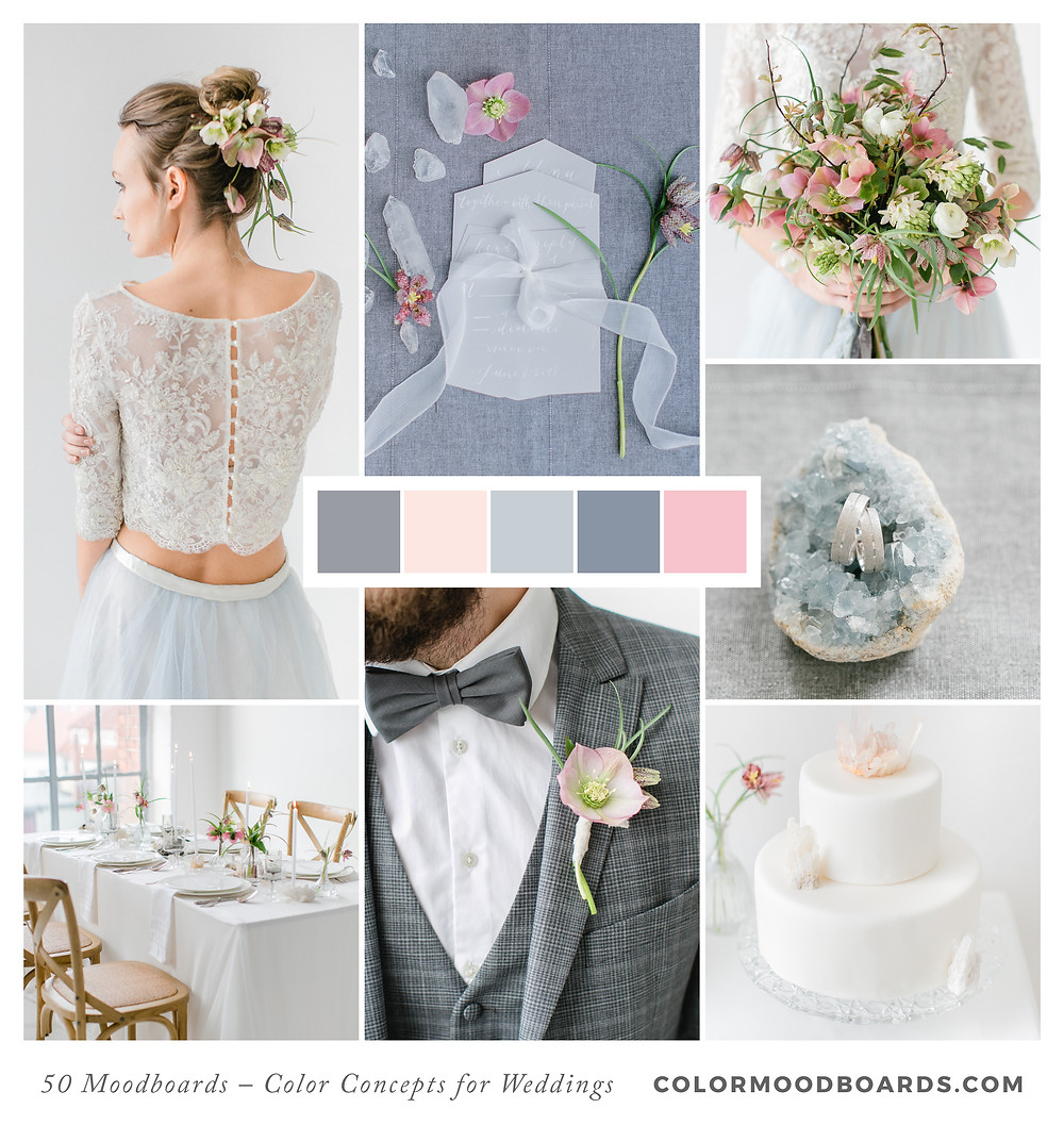 A mood board as wedding inspiration for flowers, decoration & invitation which uses a color palette of gray, blue and blush.