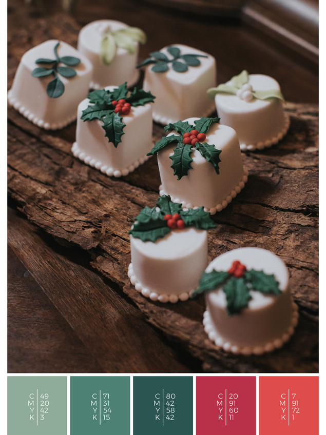 "The wedding sweets of the wedding mood board ""Christmas Classics"" fits to a color scheme palette in shades of red and green."