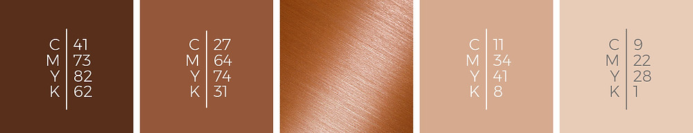 """The mood board """"Magic Lights"""" shows a wedding color scheme in wood, cinnamon, copper, caramel and nude."""