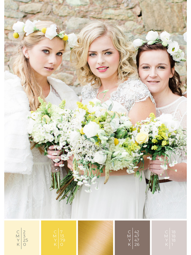 """The bridal bouquet of the wedding mood board """"Country Charm"""" has a color scheme palette in shades of yellow."""