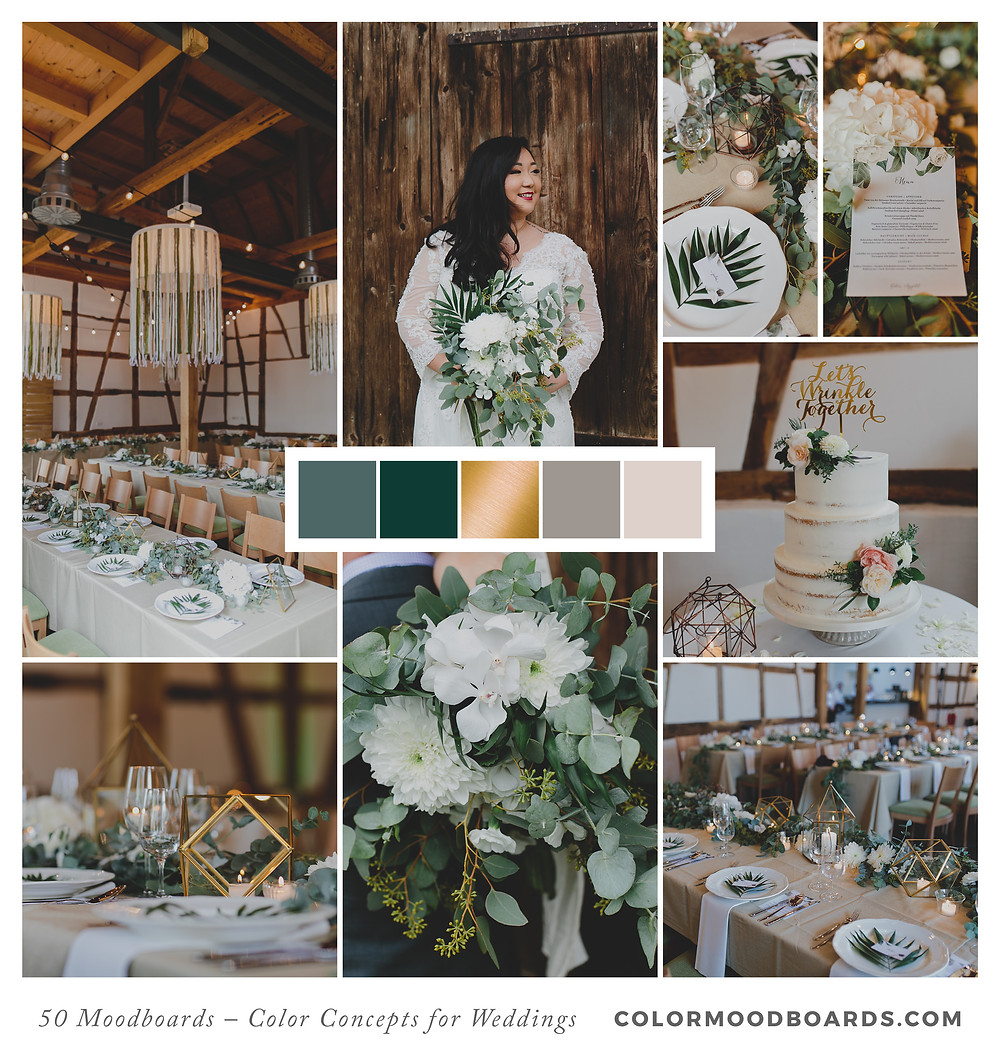 A mood board as wedding inspiration for flowers, decoration & invitation which uses a color palette of green and white.