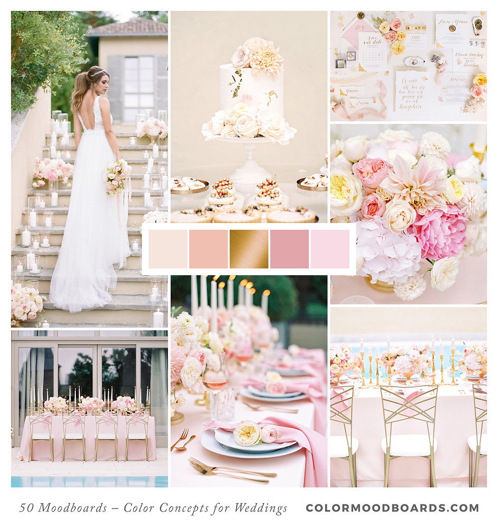 A mood board as wedding inspiration for flowers, decoration & invitation which uses a color palette of blush, light pink and pink.
