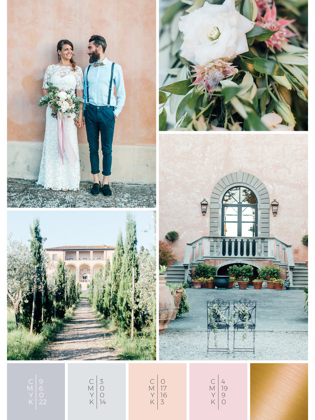 A perfect wedding location in Italy for an olive themed wedding in shades of gray, white and blush.