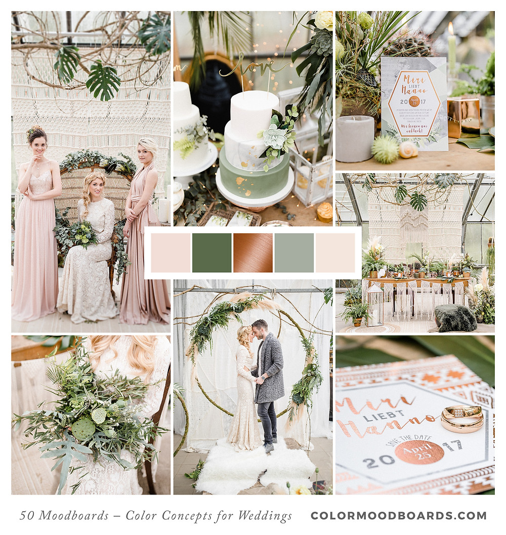 A mood board as wedding inspiration for flowers, decoration & invitation which uses a color palette of green, blush and copper.