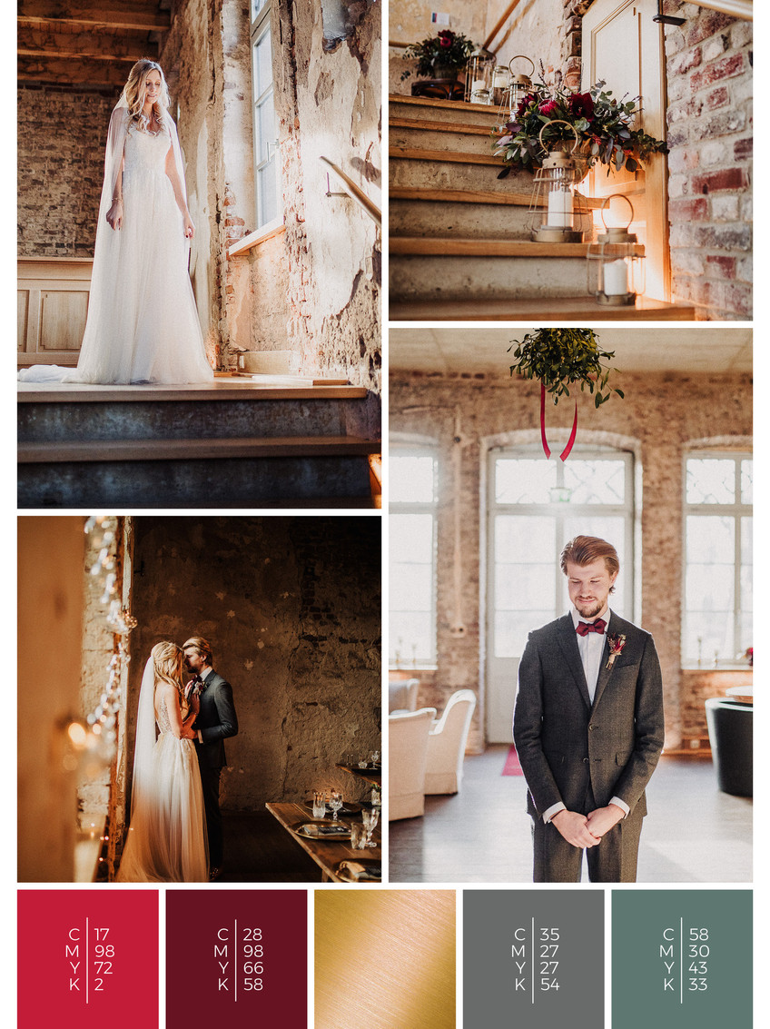 This wedding dress for a barn wedding fits perfectly to a vintage wedding style in shades of red and black.