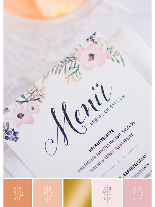 This wedding menu card for a rose garden wedding fits perfectly to a romantic wedding style in shades of coral, pink and orange.