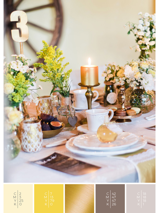 """This wedding table decoration of the wedding mood board """"Country Charm"""" has a color scheme palette in shades of yellow."""