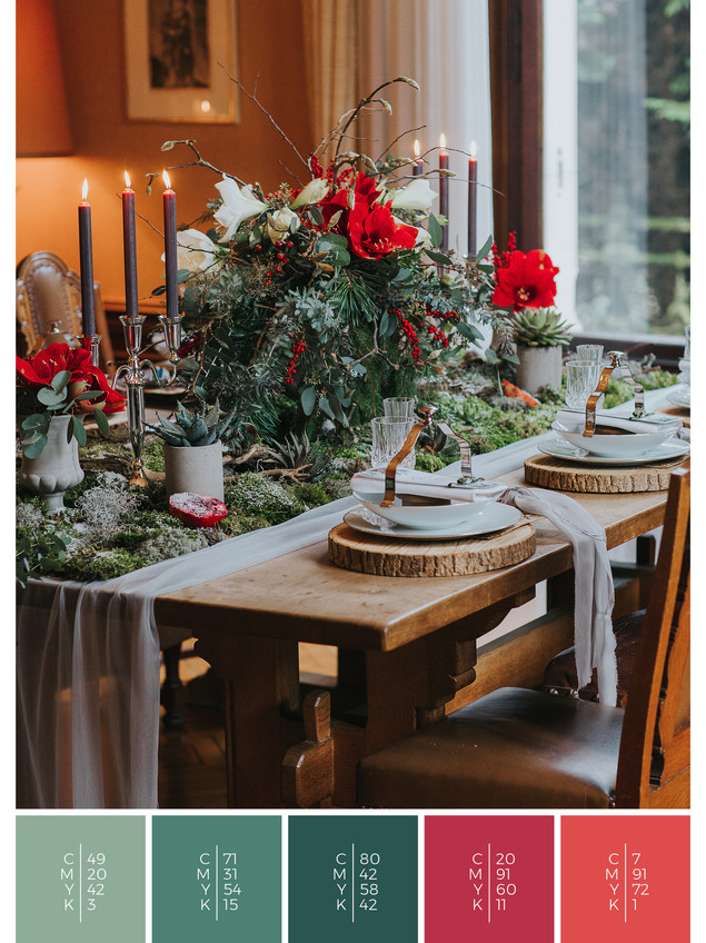 "This wedding table decoration of the wedding mood board ""Christmas Classics"" has a color scheme palette in shades of red and green."