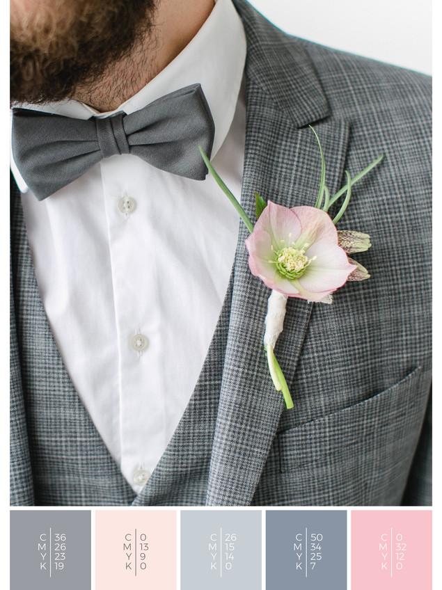 """The boutonniere for the groom of the wedding mood board """"Crystal Clear"""" fits to a color scheme palette in shades of gray, blue and blush."""