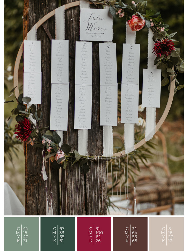 """The wedding mood board """"Mellow Mountain"""" helps you to plan a barn wedding with a color scheme of red and pink."""