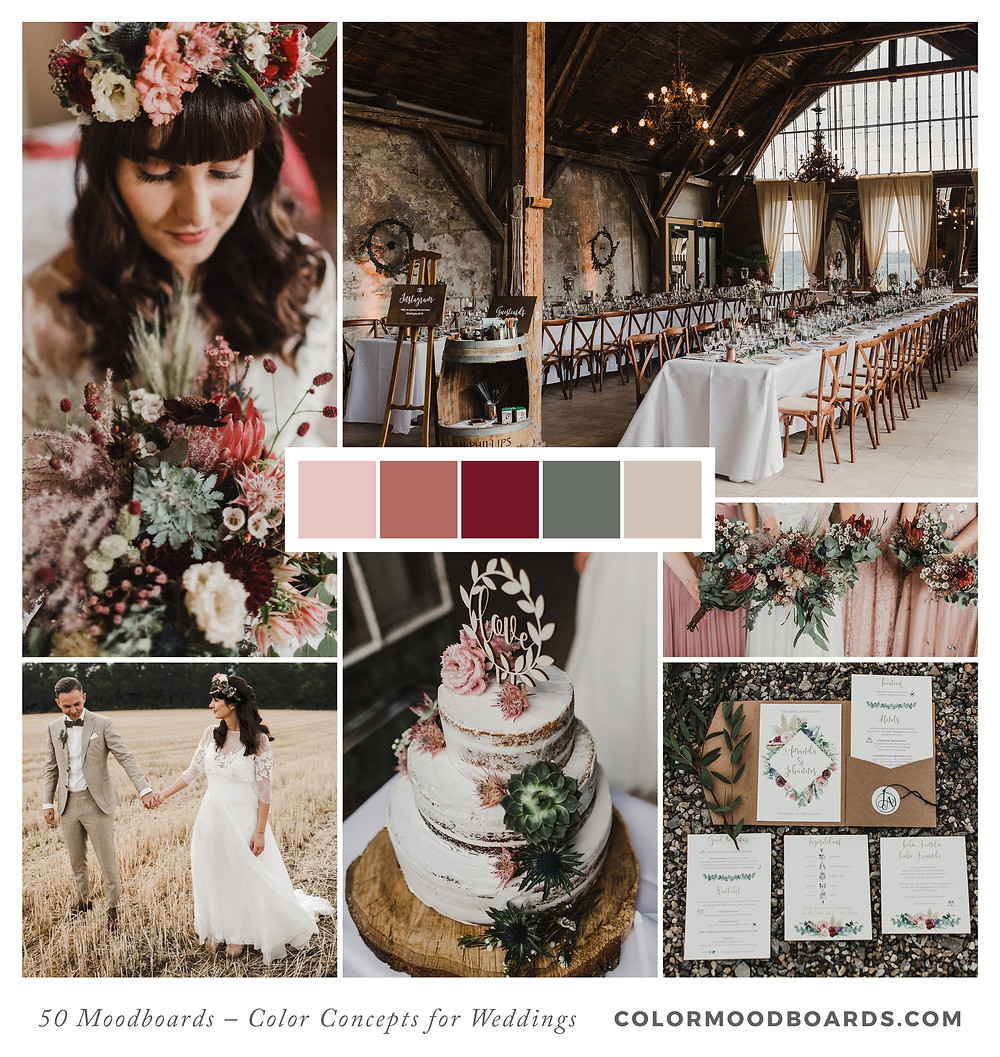 A mood board as wedding inspiration for flowers, decoration & invitation which uses a color palette of red and coral.