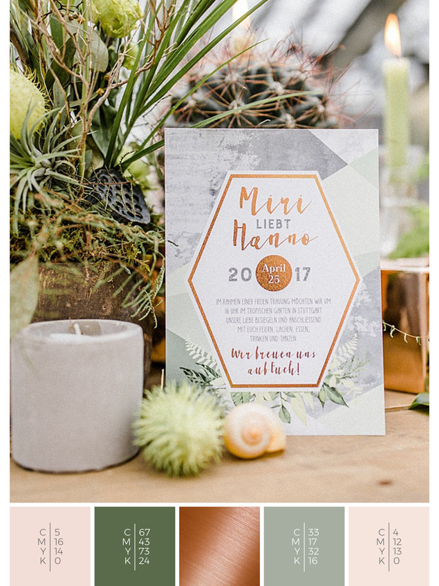 This wedding invitation for a glass house wedding fits perfectly to a boho wedding style in shades of green, blush and copper.