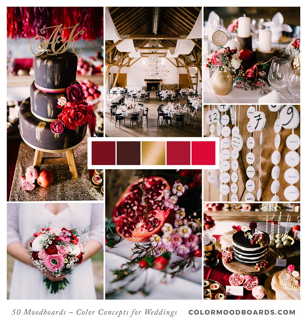 A mood board as wedding inspiration for flowers, decoration & invitation which uses a color palette of red, black and gold.