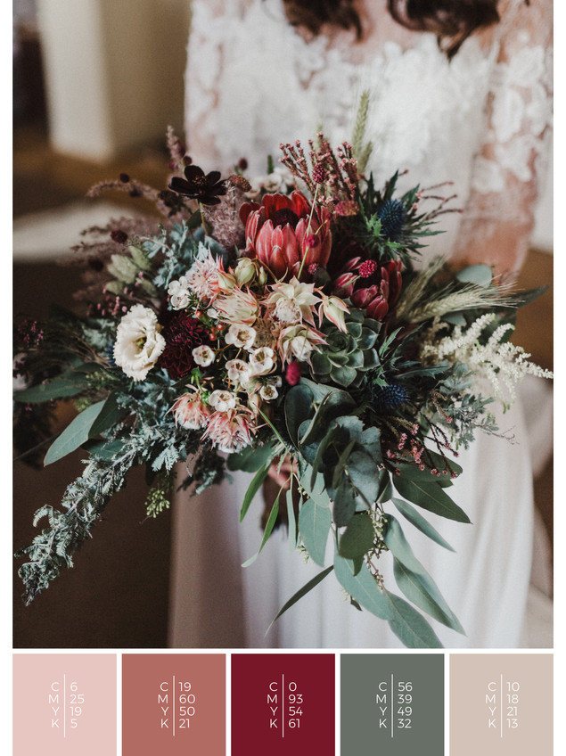 "The bridal bouquet of the wedding mood board ""Blooming Beauties"" has a color scheme palette in shades of red, coral and blush."