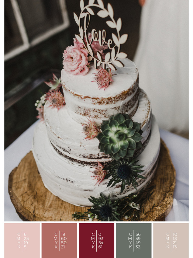 "The wedding cake of the wedding mood board ""Blooming Beauties"" fits to a color scheme palette in shades of red, coral and blush."