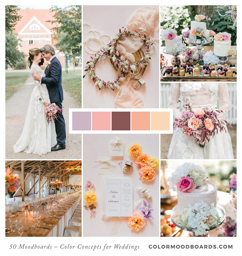 A mood board as wedding inspiration for flowers, decoration & invitation which uses a color palette of violet and coral.