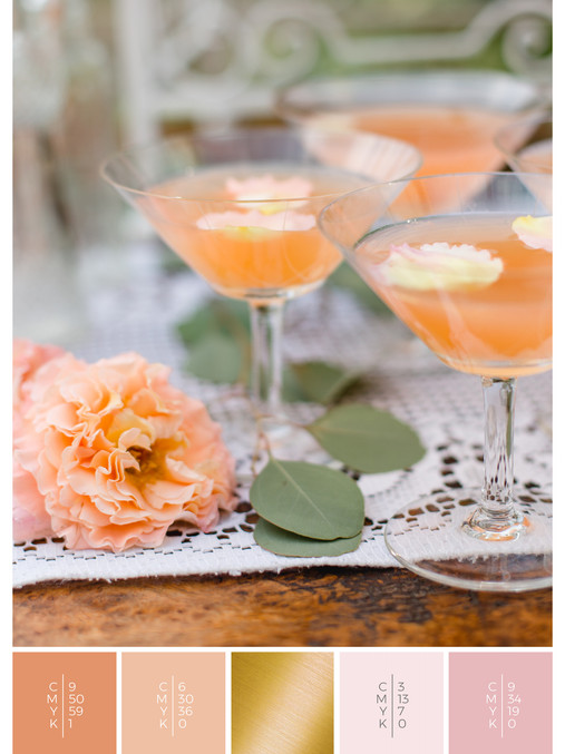 """The wedding mood board """"Briar Rose"""" helps you to plan a rose garden wedding with a color scheme of coral, pink and orange."""