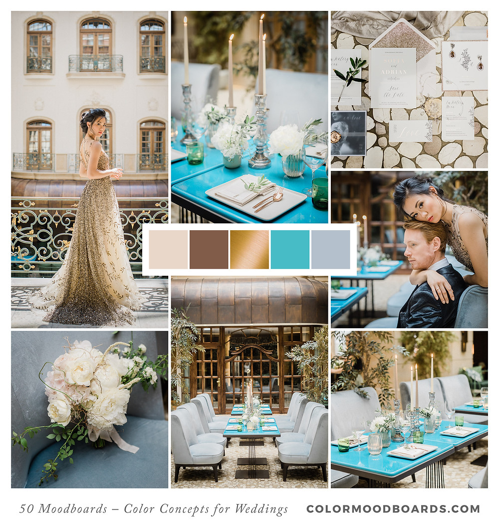 A mood board as wedding inspiration for flowers, decoration & invitation which uses a color palette of turquoise and gray.