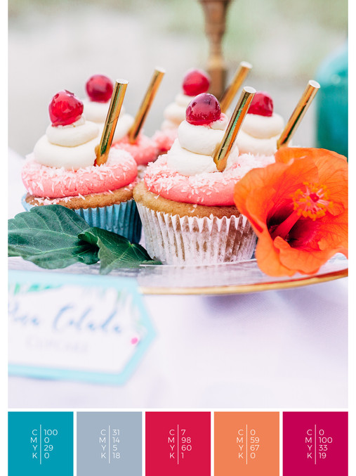 "The wedding sweets of the wedding mood board ""Tropical Teal"" fits to a color scheme palette in shades of turquoise, pink, coral, orange and red."