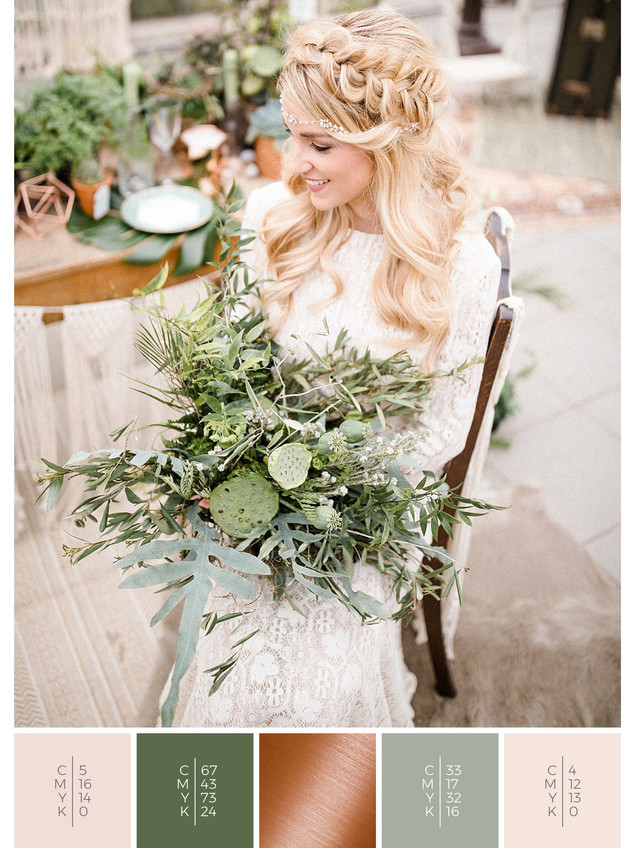 "The bridal bouquet of the wedding mood board ""Urban Jungle"" has a color scheme palette in shades of green, blush and copper."