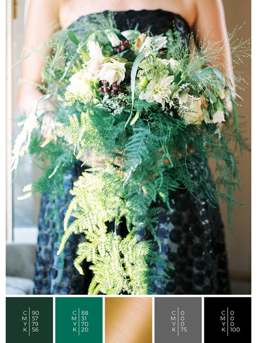 "The bridal bouquet of the wedding mood board ""Love is Love"" has a color scheme palette in shades of green, gold and black."