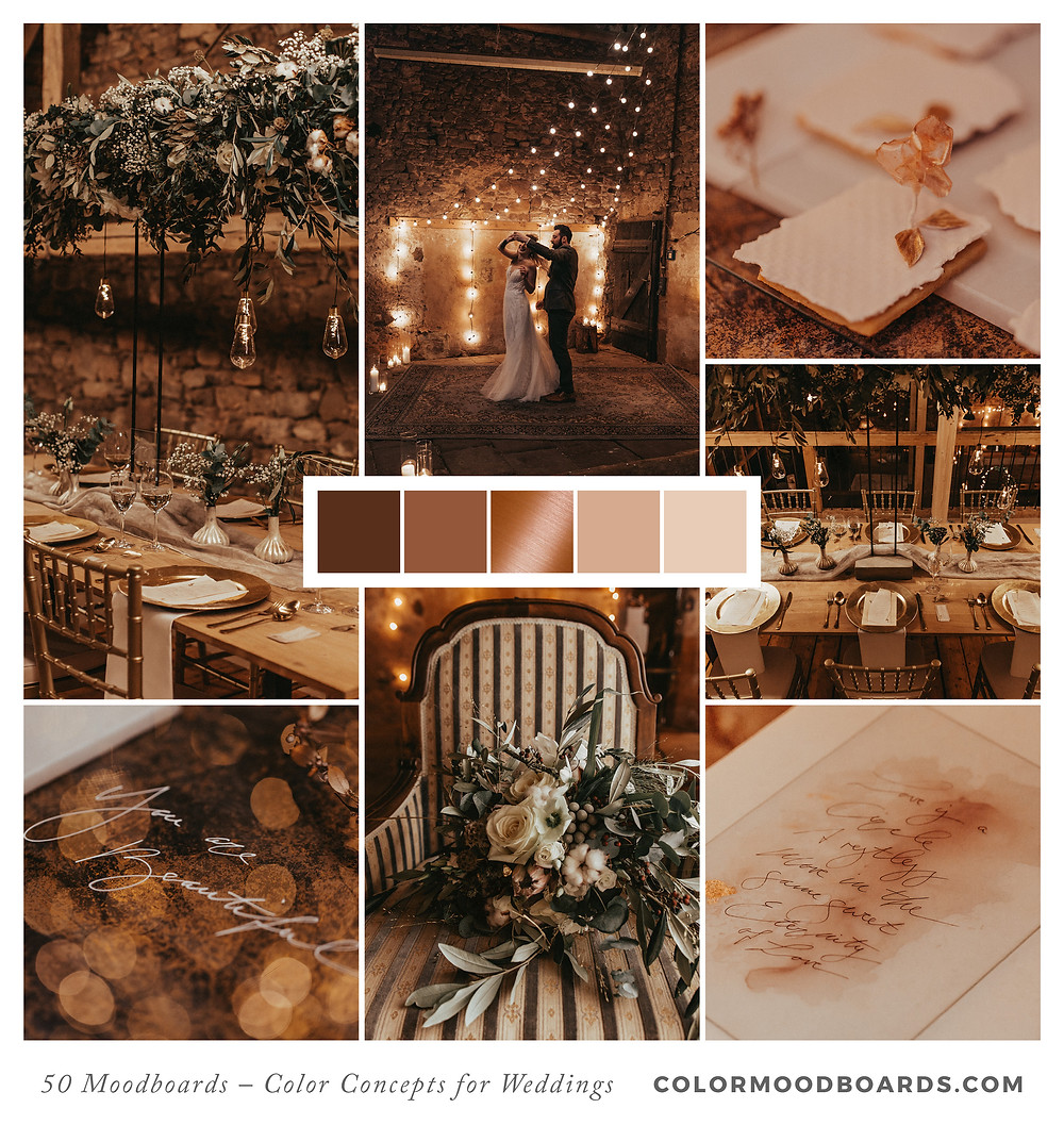 A mood board as wedding inspiration for flowers, decoration & invitation which uses a color palette of brown, white and copper.