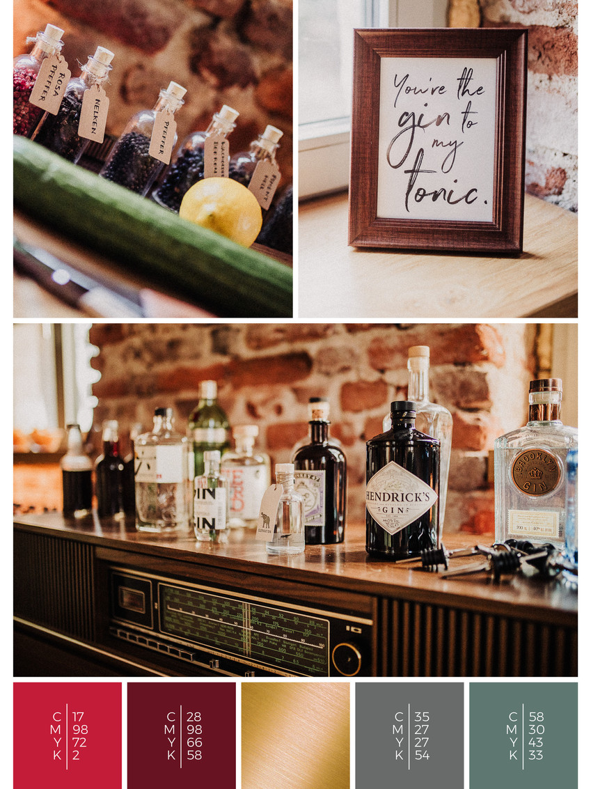 """The wedding mood board """"Rustic Glamour"""" helps you to plan a barn wedding with a color scheme of red and black."""