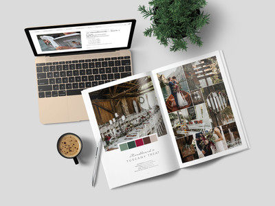 """The wedding moodboard """"Mellow Mountain"""" printed in the wedding guide """"50 Moodboards – Color Concepts for Weddings""""."""