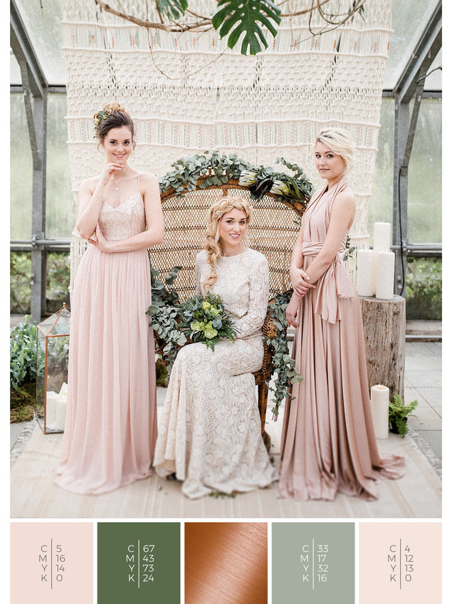"The wedding mood board ""Urban Jungle"" helps you to plan a glass house wedding with a color scheme of green, blush and copper."