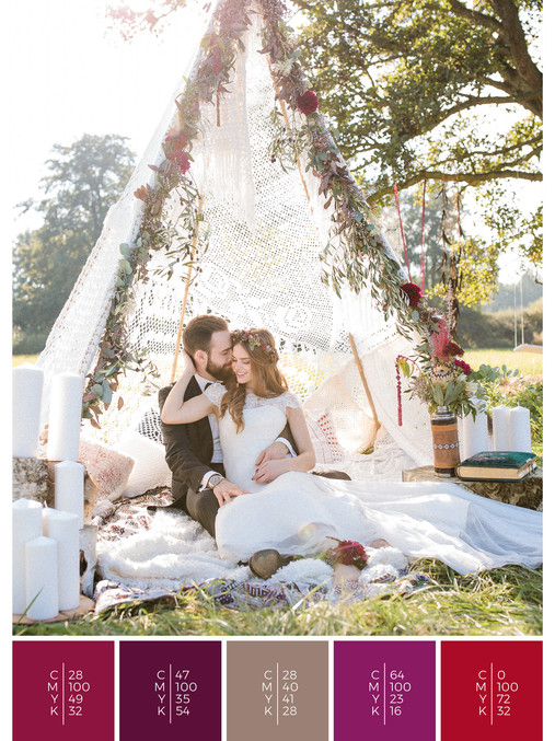 """The wedding mood board """"Indian Summer"""" helps you to plan a garden wedding with a color scheme of red, pink and puprle."""
