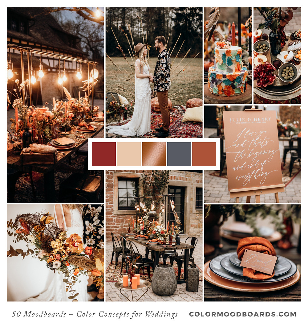 A mood board as wedding inspiration for flowers, decoration & invitation which uses a color palette of red and orange.