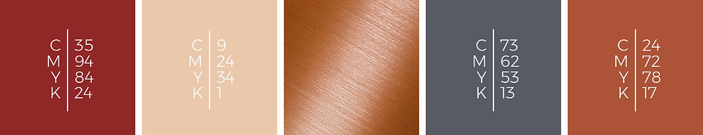 """The mood board """"Oriental Woods"""" shows a wedding color scheme in old brick, nude, copper, scarpa flow and brown rust."""