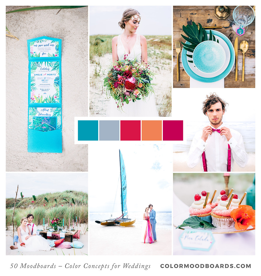 A mood board as wedding inspiration for flowers, decoration & invitation which uses a color palette of turquoise, pink, coral, orange and red.