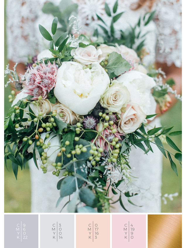 "The bridal bouquet of the wedding mood board ""Italian Romance"" has a color scheme palette in shades of gray, white and blush."