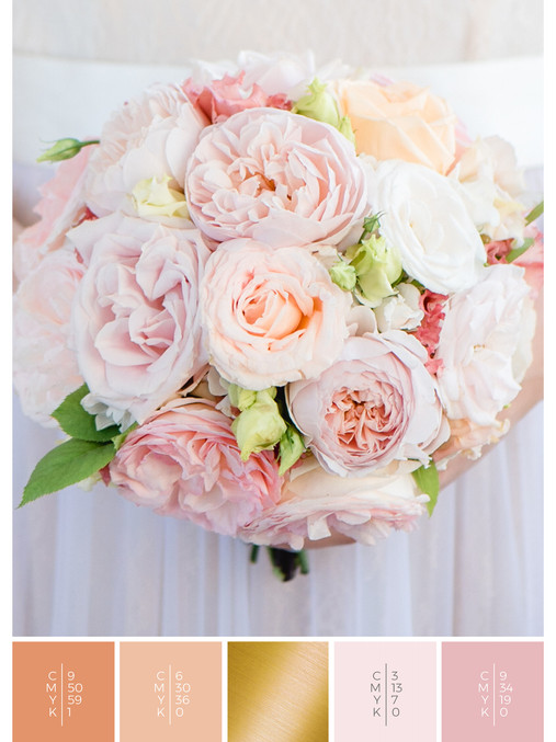 """The bridal bouquet of the wedding mood board """"Briar Rose"""" has a color scheme palette in shades of coral, pink and orange."""
