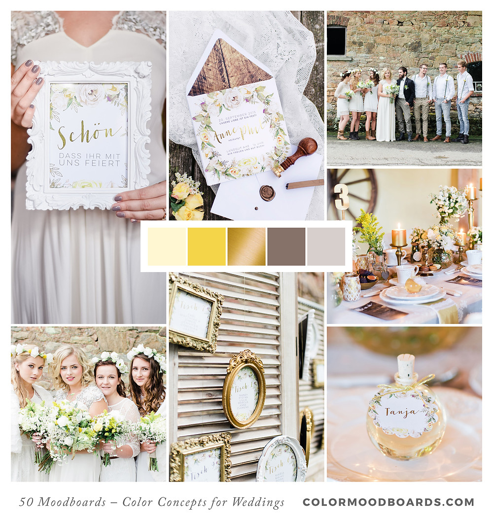 A mood board as wedding inspiration for flowers, decoration & invitation which uses a color palette of yellow.