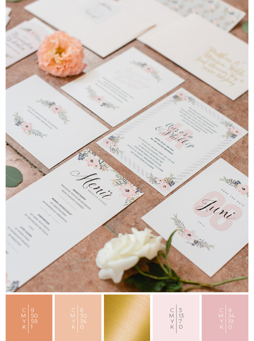 This wedding stationery for a rose garden wedding fits perfectly to a romantic wedding style in shades of coral, pink and orange.