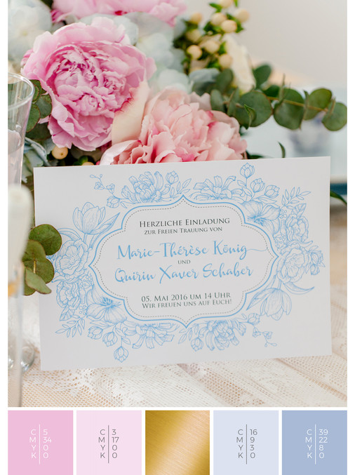 This wedding invitation for an outdoor wedding fits perfectly to a vintage wedding style in shades of pink and blue.