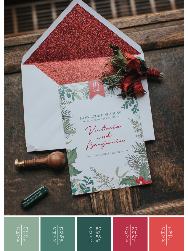 This wedding invitation for a wedding at home fits perfectly to a rustic wedding style in shades of red and green.