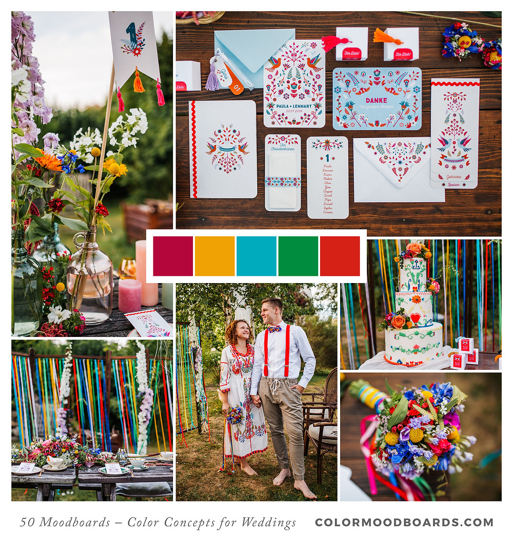 A mood board as wedding inspiration for flowers, decoration & invitation which uses a color palette of turquoise, pink, red and yellow.