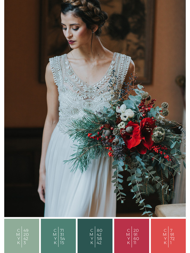This wedding dress for a wedding at home fits perfectly to a rustic wedding style in shades of red and green.