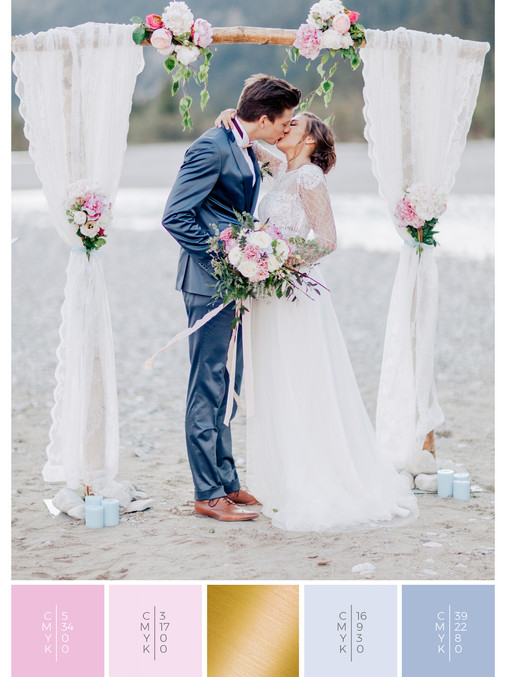 A ceremony backdrop for a vintage outdoor wedding combined with a color scheme of pink and blue.