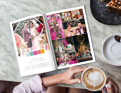 "The wedding moodboard ""Mexican Magic"" printed in the wedding guide ""50 Moodboards – Color Concepts for Weddings""."