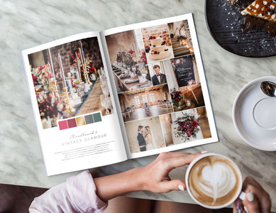 """The wedding moodboard """"Rustic Glamour"""" printed in the wedding guide """"50 Moodboards – Color Concepts for Weddings""""."""