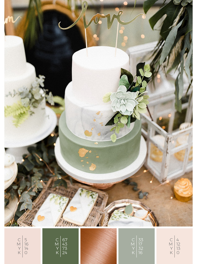 "The wedding cake of the wedding mood board ""Urban Jungle"" fits to a color scheme palette in shades of green, blush and copper."