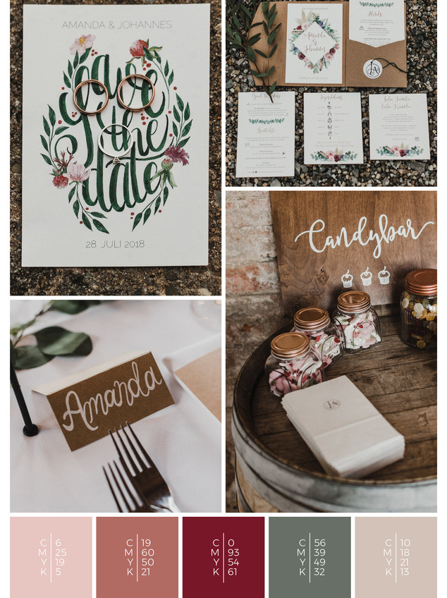 This wedding stationery for a barn wedding fits perfectly to a rustic wedding style in shades of red, coral and blush.