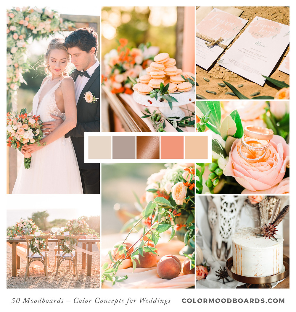 A mood board as wedding inspiration for flowers, decoration & invitation which uses a color palette of coral and orange.